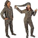 Blue Leopard Fleece Drop Seat Footed Pajamas with Long Night Cap