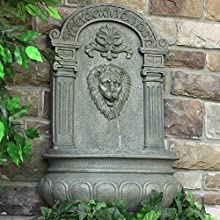 Sunnydaze Imperial Lion Outdoor Solar on Demand Wall Fountain with French Limestone Finish 32 Inch T