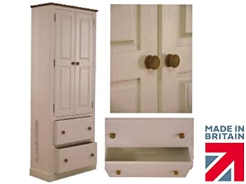 100% Solid Wood Storage Cupboard, Handcrafted White Painted 2 Metre Tall Pantry, School, Larder Storage Kitchen or Hallway Cabinet. No Flat-Packs, No Assembly (CUP105-P)
