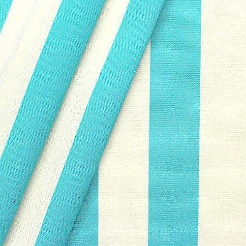 Markisenstoff Outdoorstoff Streifen Breite 160cm Türkis-Blau Weiss
