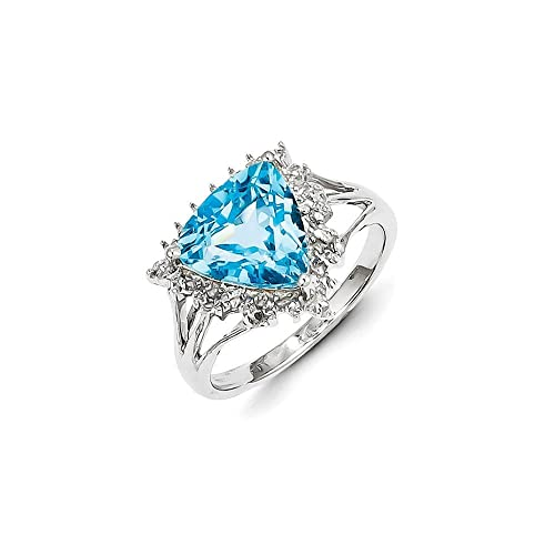 Sterling Silver Rhodium Trillion Lt Swiss Blue Topaz & Diamond Ring