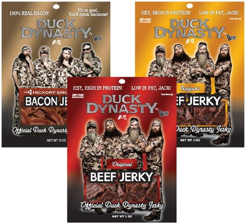Official Duck Dynasty 3Oz Beef & Bacon Jerky Sampler (One 3Oz Pack Of Original, Teriyaki, And Bacon)