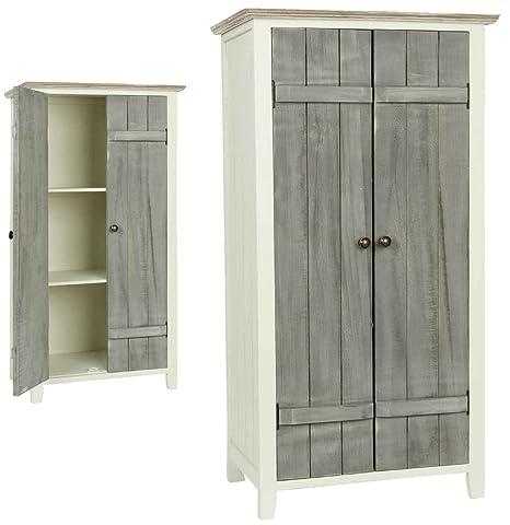 Clayre y fed 5H0090 armario Madera Blanco 45 x 35 x 85 cm aprox puertas gris
