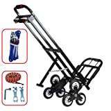 Mecete Enhanced Stair Climbing Cart Portable Climbing Cart 460 lb Largest Capacity All Terrain Stair Climbing Hand Truck Heavy Duty with 6 Wheels (Black) 2 Climbing Rope for Heavy Cargo on Stairs (Tamaño: Capacity 460 lb)