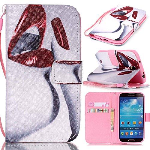 アイビー Samsung Galaxy サムスン ギャラクシー S4(i9500)SC-04E SIV 対応ケース 「唇」 PUレザー 手帳型カバー ケース ストラップ付き IDカード/クレジットカード入れ 磁気フリップ閉鎖 横開き スタンド機能付 保護 防塵 卓上対応 Samsung Galaxy サムスン ギャラクシー S4(i9500)SC-04E SIV 用