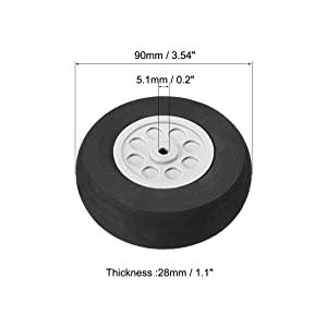 uxcell 90mm RC Model Plane Aircraft Foam Wheel Replacement Black Gray 2pcs