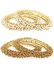 """Jewels Galaxy Combo Of Traditional Pearl Bangles - Set Of 4 """