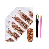 2800Pcs Nail Art AB Crystal Rhinestones - Top Quality Flatback Glass Nail Jewelry Gems Stones with Wax Rhinestone Pen and Tweezers for Nails Decoration Eye DIY Makeup Clothes 6 Sizes (Amber Gold) (Color: Amber Gold, Tamaño: one size)