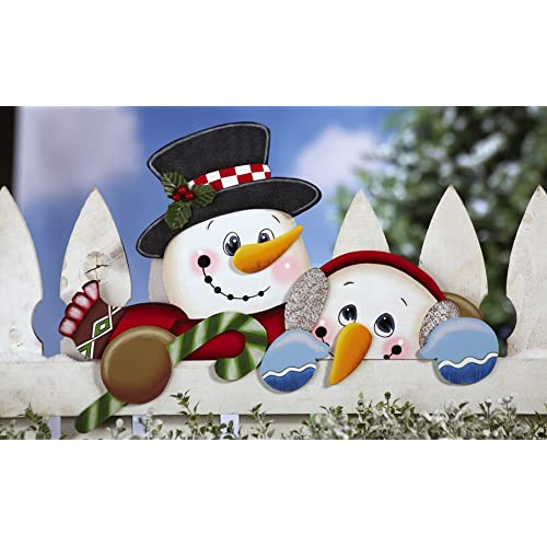 Collections Etc - Snow Friends Fence Topper Outdoor Holiday Decoration