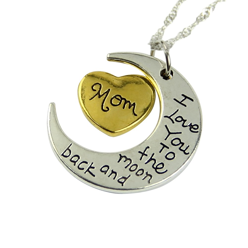 Kangnice® New Family Silver Plated Chain I Love You To The Moon And Back Necklace Pendant Christmas Party Friends Present Gift (Mom)