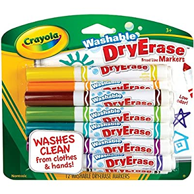 Crayola Washable Dry Erase Markers, Assorted Colors, 12 count (98-5812) from Home Comforts