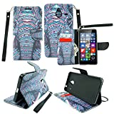 Mstechcorp - Microsoft Lumia 640XL Case - PU Leather Full Body cover & Stand Flip Wallet Case with Built-in Card Slots for Microsoft Lumia 640XL - Includes Hands Free Earphone With Carrying Case + Touch Screen Stylus + Car Charger Data Cable + Wall Charger Data Cable (TRIBAL ELEPHANT)