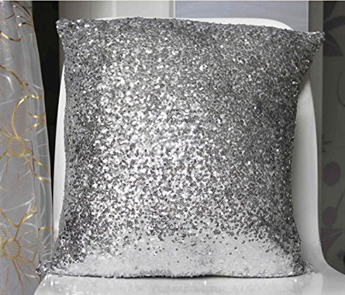Stylish Comfy Solid Color Sequins Cushion Cover Throw Pillow Case Cafe Decor (silvery)