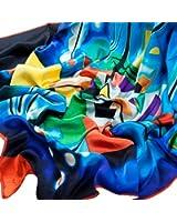 Prettystern P307 - 90cm carré en pure soie Foulard Echarpe - Vassily Kandinsky - blue printing