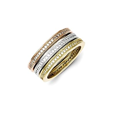Sterling Silver Micro Pave Vermeil Polished Trio Stackable Ring