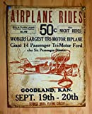 Secrist Flying Circus - Airplane Rides Distressed Retro Vintage Tin Sign