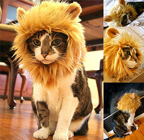 Yunt Pet Costume Lion Mane Wig for Dog Cat Halloween Dress up with Ears,Turns Your Pet Into a Ferocious Lion