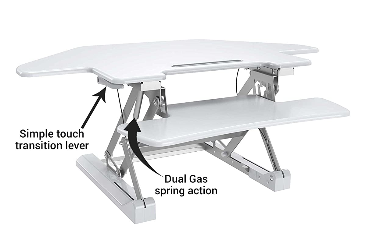 """Zeal Desk Corner Pro 40 Height Adjustable Cubicle Sit to Stand 40"""" Tabletop Cubical Riser with Keyboard Tray Workstation Monitor Laptop Desk ZD-LD07T (White)"""