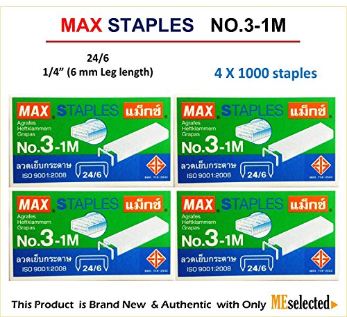max-no3-1m-flat-clinch-staples-24-6-for-office-stapler-4-boxes-4000-staples