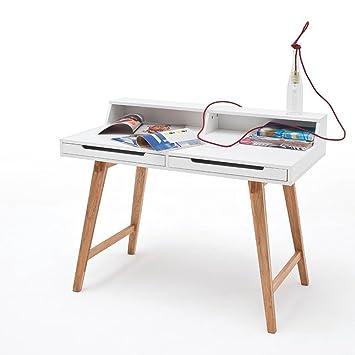 TIFFY Bureau vintage laqué blanc mat et pieds en bois hetre massif - L 110 cm