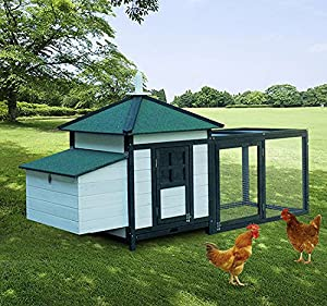 PawHut Deluxe Large Chicken Coop with Nesting Box and Run