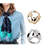 2PCS Women Lady Girls Simple Fashion Three Rings Scarves Buckle Scarf Clip Scarf Ring Wrap Holder Clamp Silk Sarf Clasp for Clothing Neckerchief Shawl Golden Silver Set (Color: Silver)