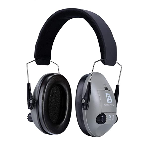 Bochamtec LOBITO Electronic Shooting Earmuff, Noise Reduction Sound Amplification Electronic Safety Ear Muffs with a Carrying Bag (Grey) (Color: grey)