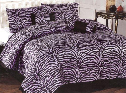 7-Piece Queen Size Comforter Set Microfiber Zebra Fur Purple Black Bed-In-A-Bag