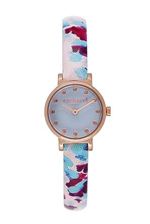 ac6e5bd1e2 Cacharel - CLD 029/2II - Montre Femme - Quartz Analogique - Cadran Bleu -  Bracelet Cuir Multicolore