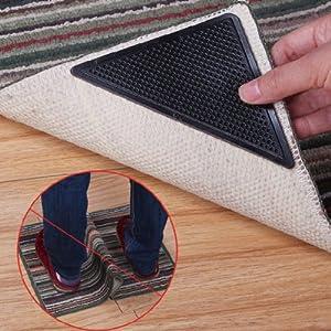 Foxnovo 15*7.5cm Reusable Triangle-shaped Anti-skid Rubber Floor Carpet Mat Rug Gripper Stopper Tape Sticker - 4 pcs/set (Black) by Foxnovo
