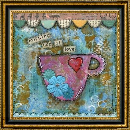 "Morning Cup of Love by Denise Braun - 30"" x 30"" Framed Premium Canvas Print"
