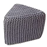 A S Traders Knitted Triangular Pouf Outer Cotton & Inner Thermocol Box (40 Cm X 40 Cm X 37.5 Cm, Gery)