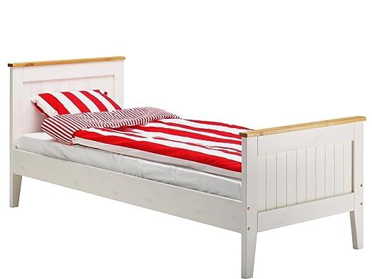 Single Bett SCALA 80x200 aus Kiefer in natur und weiß fur Schlafzimmer, von Loft24