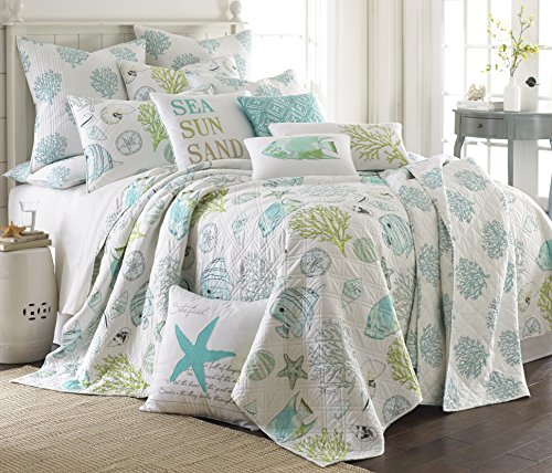 Biscayne Full/Queen Quilt Set Aqua Coastal (Beach Quilts Queen Size compare prices)