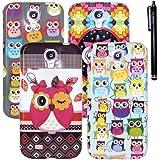 Hunye 5in1 Set: 4 x TPU Hülle Tasche Case Etui für Samsung Galaxy S4 i9500 Schutzhülle Eulen Muster Cover Schale und 1 x Stylus