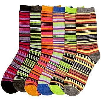 Women's (12 Pairs) Crew Socks - Stripe 4-1