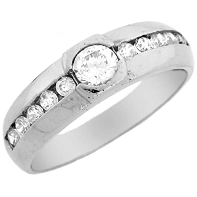 14ct White Gold CZ Anniversary Wedding Band Fancy Mens Ring