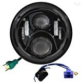 Eagle Lights 7 Inch Round Generation 2 Black LED Headlight for Harley Davidson with 2014+ Harley Adapter Harness (Color: Black with 2014+ Adapter Harness)