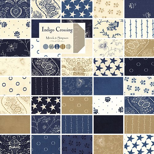 Moda Indigo Crossing Charm Pack, Set of 42 5-inch (12.7cm) Precut