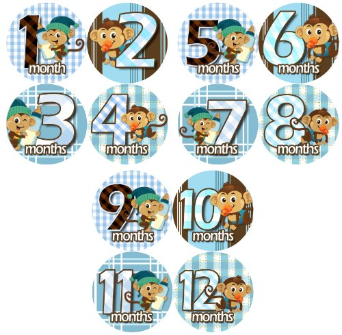BLUE BABY MONKEYS Baby Month Onesie Stickers Baby Shower Gift Photo Shower Stickers, baby shower gift by OnesieStickers