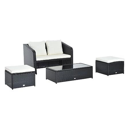Outsunny® 9 tlg. Polyrattan Gartenmöbel Sitzgruppe Gartenset Sofagarnitur Garnitur Lounge