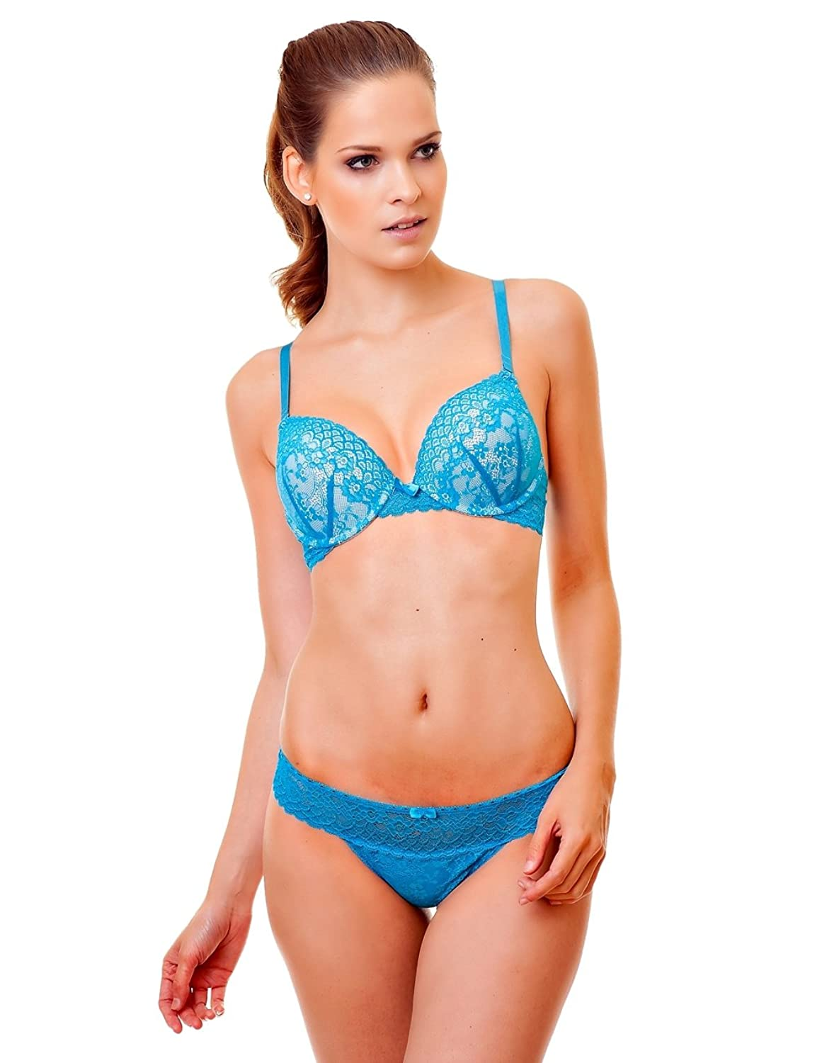 Mega Double PUSH-UP BH-Set mit String-Tanga Dessous-Set mit Spitze