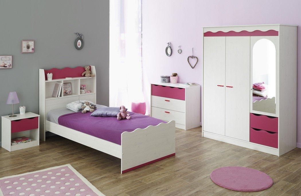 Kinderzimmer Lilan 1 weiß pink, Kleiderschrank Bett Nachttisch Kommode, Mädchen Mädchenzimmer online bestellen