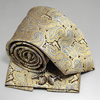 H6120 Brown Paisley Luxury Classic Silk Tie Hanky Cufflinks Set 3PT By Y&G