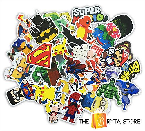 COOL Graffiti Stickers Decals Vinyls | Pack of 50 Finest Quality Superheroes & POKEMONs + Extras | Perfect To Personalize Laptops, Macbooks, Bumpers | Excellent For Classroom Rewards | The Bryta Store (Macbook Sticker Cool compare prices)