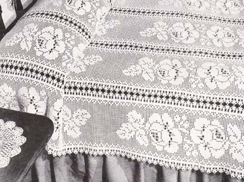 Floral Filet Crochet Bedspread Pattern PDF