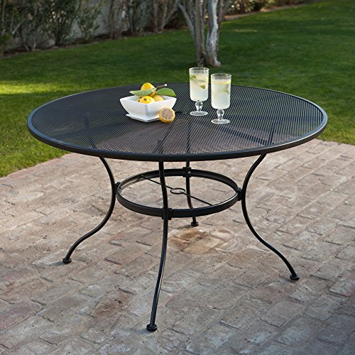 6 z3year cheap sale woodard stanton 48 in round wrought for Metal patio tables sale