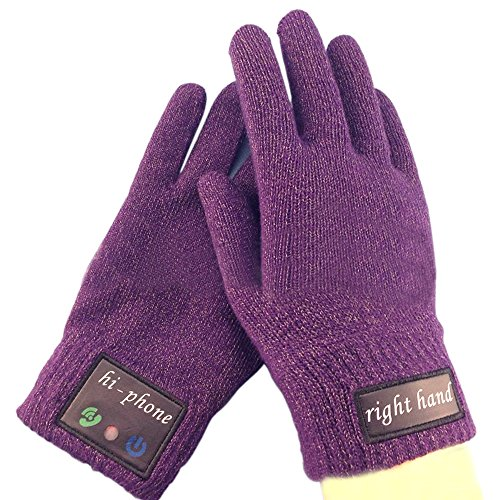 Rasse® Wireless Bluetooth Handset Bluetooth Touch-screen Glove Bluetooth Talking Gloves Bluetooth Headset Winter Warm Gloves for iPhone Samsung Android Phones (Purple)