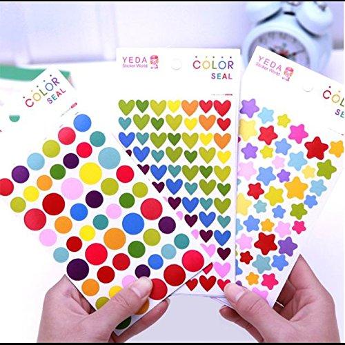 Desk Accessories - 6Pcs Korean Funny Colorful Round Dots Shape Diy Decorative Stickers Multi-Color