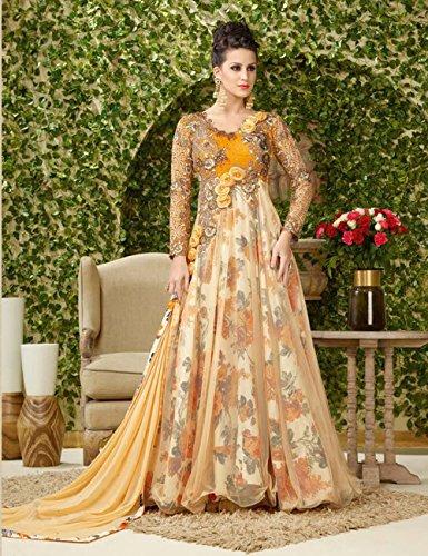 [Yellow & Cream Designer Gown] (Bharatnatyam Costume)